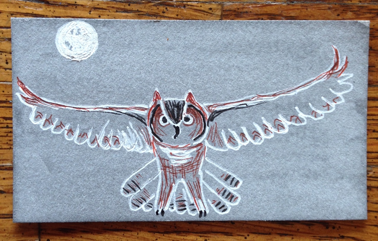 business cards as canvas day 4 owl ticklehead